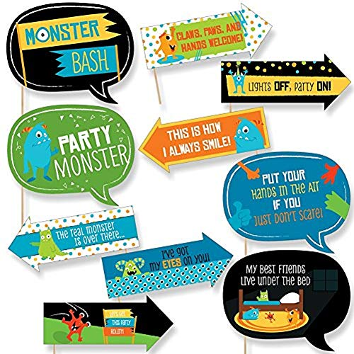 Funny Monster Bash - Little Monster Birthday Party or Baby Shower Photo Booth Props Kit - 10 Piece -