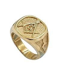 Men's Womens Masonic Ring 18K Gold Plated Freemason Symbol Ring