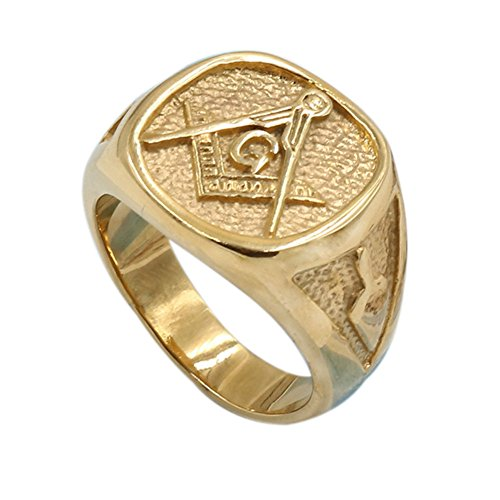 Zovivi Men's Womens Masonic Ring 18K Gold Plated Freemason Symbol Ring