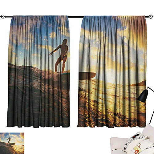 Beihai1Sun Ride The Wave décor Darkening Curtains Sunset Surf in The Ocean Young Woman Under Dramatic Sky Exotic Hobby Image Curtain Door Panel Sepia Blue W72 x L63