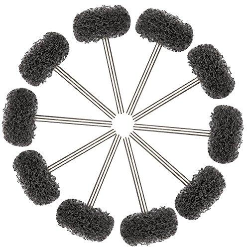 Rocaris 1'' (25mm) Black 300 Grit Abrasive Buffing Polishing Wheels Burr For Proxxon Dremel Rotary Tools-1/8''(3mm) Shank Pack of 50Pcs by Rocaris (Image #2)
