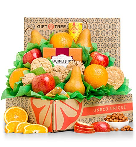 GiftTree Fresh Fruit & Cookies Gift Basket | Box Includes Pears, Apples, Oranges, Oatmeal Cookies, Wisconsin Cheddar Cheese & more | Perfect Thank You, Birthday, and Holiday Present
