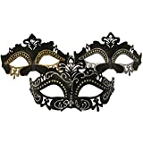One Black Laser Cut Venetian Mask Crystal Masquerade Party
