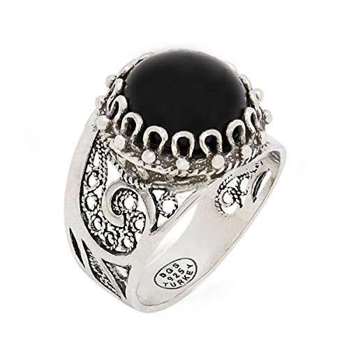 (925 Sterling Silver Black Onyx Round Filigree Paisley Ring (Size 6 - 10) (10))
