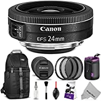 Canon EF-S 24mm f/2.8 STM Lens w/ Essential Photo and Travel Bundle - Includes: Altura Photo Sling Backpack, UV-CPL-ND4, Neoprene Lens Pouch, Camera Cleaning Set