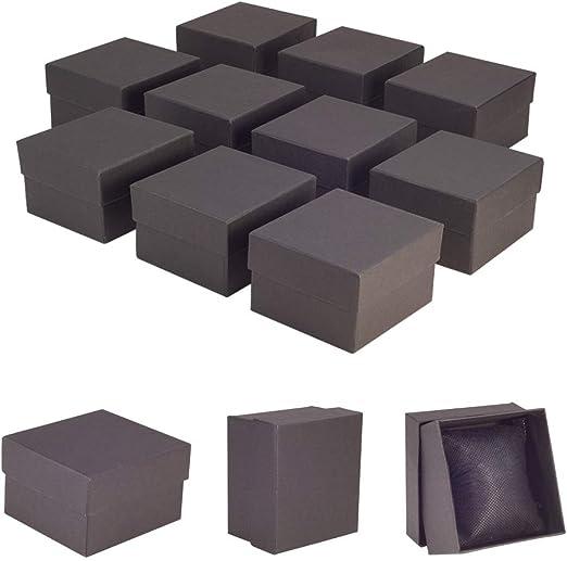 NBEADS 10 Piezas Cajas de Reloj, Caja de Cartón Artesanal Negra con Esponja Interior para Joyería Pulsera Collar Embalaje de Reloj, 8,9 x 8,1 x 5,4 cm: Amazon.es: Hogar