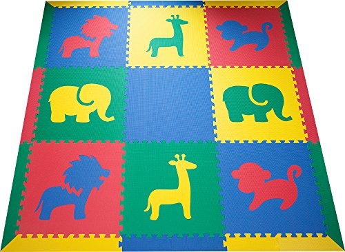 SoftTiles Interlocking Kids Foam Playmat w/Sloped Borders- Safari Animals designs for Nursery and Playroom- Baby, Kids, and Toddlers - Primary Colors (6.5' x 6.5') SCSAFSPRIM by SoftTiles