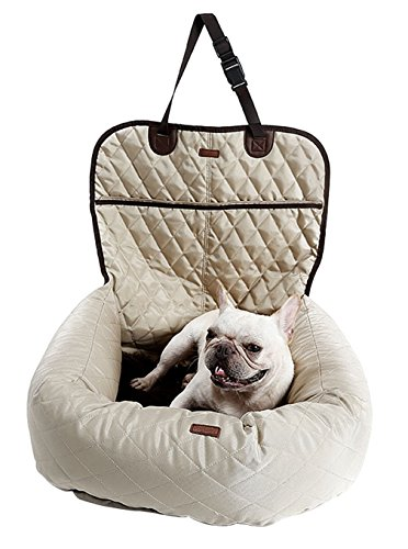La Vogue Pet Booster Bed Deluxe Dog Car Seat Cover Bed Durable Waterproof - Black And Pradas White