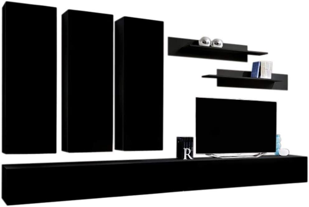 MEBLE FURNITURE /& RUGS Wall Mounted Floating Modern Entertainment Center Fly E White, E3