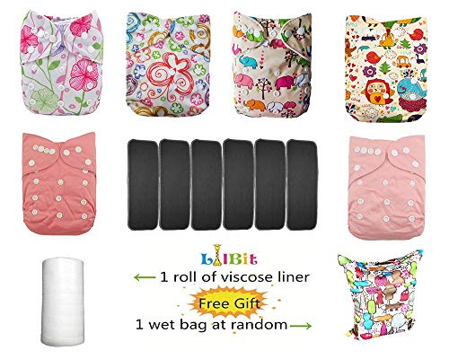 Lilbit Baby 6 Pcs Pack Washable Reusable Adjustable Pocket One Size Cloth Diaper with 6 PCS Five Layers Bamboo Charcoal Inserts Ymxtzzh12