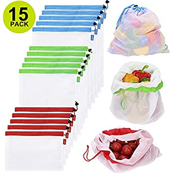 Reusable Produce Bags 15PCS Mesh Bags for Vegetables Eco Friendly Net Bags for Grocery Shopping & Storage Bags of Fruit Vegetables Machine Washable Mesh Produce Bags
