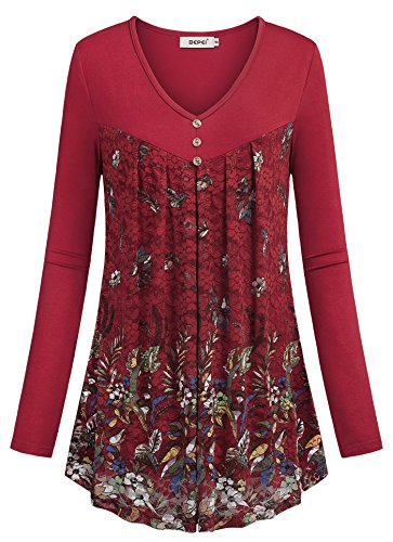 BEPEI Floral Tops for Women,Spring Long Sleeve V Neck Trendy Pretty Round Hem Blouses Womens Ruffle Tunics Stretchy Relaxed Fit Top Ladies Formal Office Clothes for Work Plus Size Red 2XL US 18