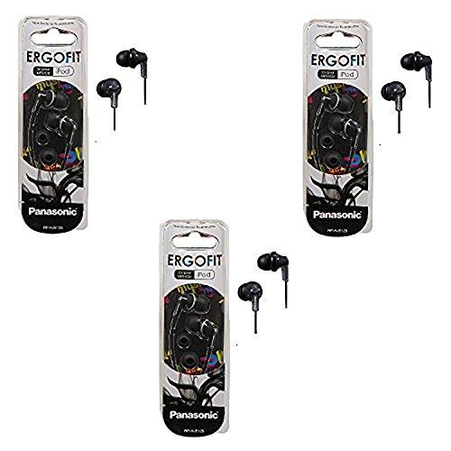 Panasonic RPHJE120K ErgoFit Earbuds Stereo In-Ear Headphones 3-PACK (RP-HJE120 Black)