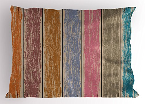 Lunarable Wood Print Pillow Sham, Watercolor Effect on Rustic Boards Grunge Weathered Timber with Worn Out Paint, Decorative Standard Queen Size Printed Pillowcase, 30 X 20 inches, Multicolor by Lunarable (Image #2)