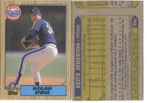 Rare Vintage 1987 Topps Nolan Ryan Rare Wrong Back Error Card Shipped in Ultra Pro Top Loader to Protect it!