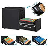 DEVAISE 3-Drawer Mobile File Cabinet with Anti-tilt Mechanism, Legal/Letter Size, Black