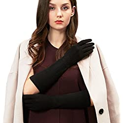 GSG Lady Fashion Touchscreen Wool Gloves Arm Warmers Gloves Mittens Women Long Slim Dress Accessory Mother Girlfriend Nice Gifts