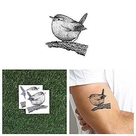 Tattify Bird Temporary Tattoo Perched Set Of 2 Long