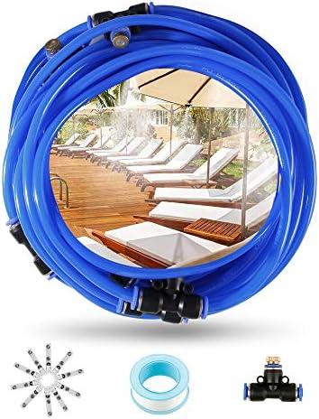 infinitoo Système de brumisation, Système de brumisateur extérieur, Brumisateur de terrasse, Kit de brumisation Idéal pour système d'irrigation pour parasol, gazebo, serre, jardin, piscine, etc. (10M)