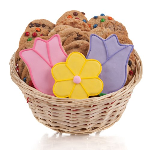 Mothers Day Tulips Cookie Basket - Tulips & Daisy Cookie Gift Basket- 24 Pc.