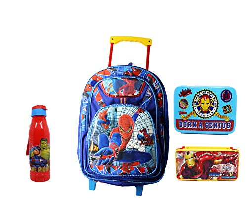 Neeba Blue Spiderman Polyester School Combo Set Trolley/School Bag on Wheels for Boys and Girls with Bottle Lunch and Pencil Box for Kids (Bag Size:19 inch)