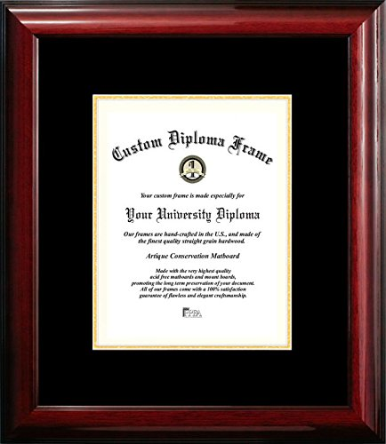 Campus Images ''Classic Certificate'' Frame with Black and Gold Mats, 8'' x 10'', Mahogany by Campus Images