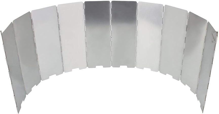 JohnJohnsen 10 Placas Estufa Plegable Parabrisas de Cocina Cocina de Gas de Viento Escudo de Picnic Utensilios de Cocina Cortavientos Acampar al Aire ...