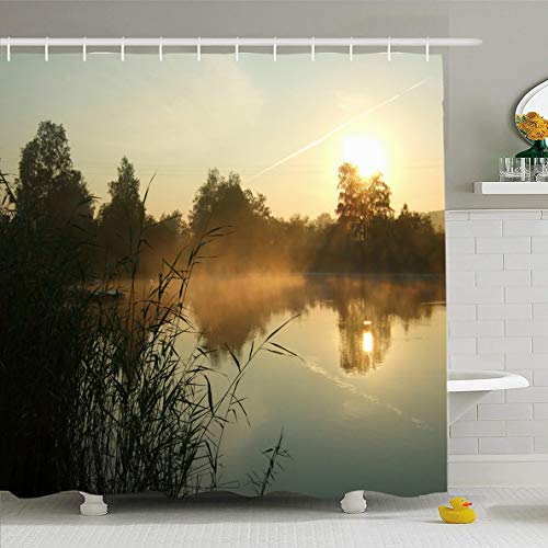 Bleach Wood Panorama Woodland - Ahawoso Shower Curtain 60x72 Inches Cloud Fishing Morning On Lake Nature Wood Red Boat Calm Sunrise Mist Woodland Design Gold Waterproof Polyester Fabric Bathroom Curtains Set with Hooks