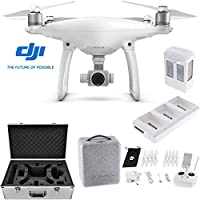 DJI Phantom 4 Quadcopter Drone Bundle includes Drone, Intelligent Battery Charging Hub, Extra Intelligent Flight Battery and Custom Carrying Case for DJI Phantom 4