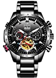 B BINGER Men's Complications Automatic Mechanical Watch with Stainless Steel Band (Silver Black)