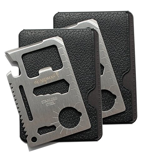 Guardman 2pcs 11 in 1 Multi Tool Credit Card Survival Tool Fits Perfect in Your Wallet (2 Pack) Valentines Day Gifts for - Best Wallet Multi Tool