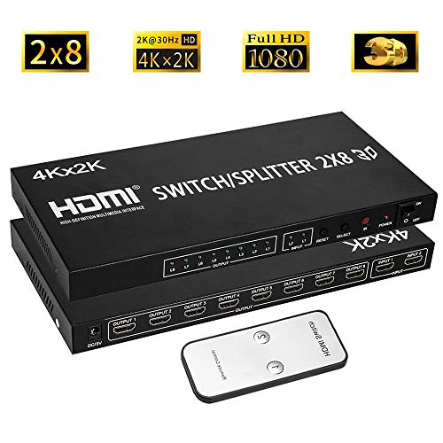 Switcher A/v Matrix (2x8 HDMI Matrix Switcher 2 in 8 Out Splitter 4Kx2K Active Amplifier Extender Ultra HD 1080P 3D Audio Video Selector with IR Remote Adapter for HDTV PC Projector Sky PS4 Xbox)