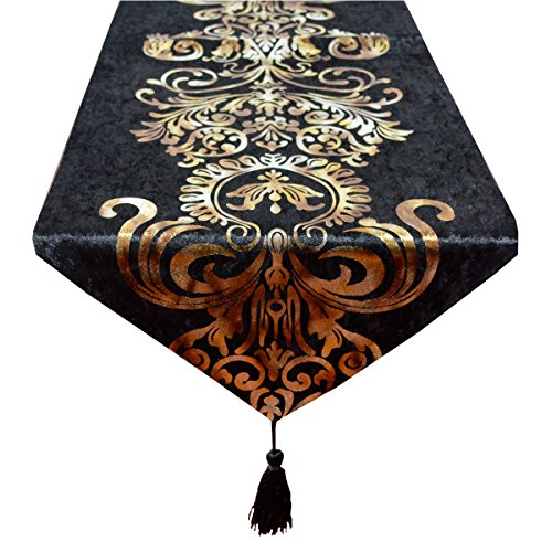 New Hot Stamping Contracted Classic Table Runner (13x98 inch, Black)]()