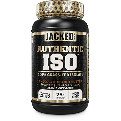 Authentic ISO 100% Grass Fed Muscle Building Whey Protein Isolate Powder - Low Carb, Grass-Fed, Non-GMO, No Fillers, Mixes Perfectly for Post Workout Recovery, Chocolate Peanut Butter Flavor - 30 SV