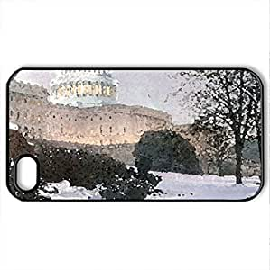 Evening on the Hill - Rod Chase - Case Cover for iPhone 4 and 4s (Houses Series, Watercolor style, Black)