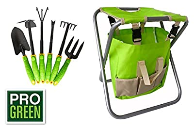 Pro Green 6 Piece Garden Tool Set | Includes Folding Chair Attractive Canvass Bag and Heavy duty Tools | Full Customer Warranty