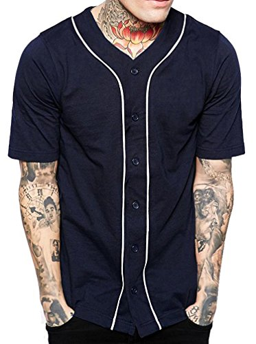 Hat and Beyond Mens Baseball Button Down Jersey (Medium, 1up01_Navy/White)