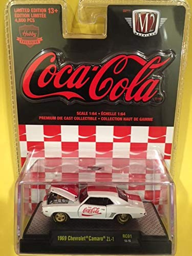 New M2 Machines 1:64 (1/64) Coca-Cola Release 1-1969 Chevrolet (Chevy) Camaro ZL-1 White & Red Stripes with