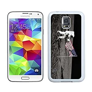 Samsung Galaxy S5 Silicone White Case USA National Flag and Astronaut on the Moon S5 TPU Soft Covers