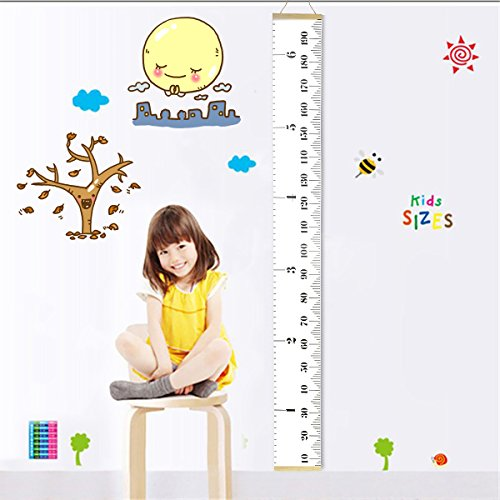 Fixget Baby Height Growth Chart, Roll Up Canvas Hanging Ruler Measurement Removable Wall Decor Fabric Chart with Wood Frame for Kids Bedroom Nursery, 79