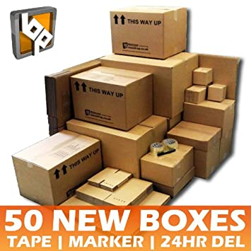 50 Cardboard Removal Boxes House Moving Pack 2 Tapes 1 Pen