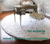 Cheap Thick White Shag Rug – Round Faux Fur – Sheepskin – Nursery – Living Room – Bedroom or Den – Branded and Bonded – by Fur Accents (10′ Diameter, White)