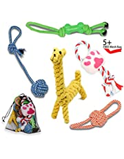 RIO Direct Dog Rope Toys, Puppy Teething Chew Toys Set – Tug of War Ball, Squeaky Toy, Giraffe Rope Toy, Rubber Interactive Toy, Dog ball – 5 Pack Gift Set for Small and Medium Dogs.