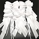 FQTANJU 30 pcs Delicate Wedding Pew End Bowknots Ribbon Bows Cars Chairs Decorations. (white)