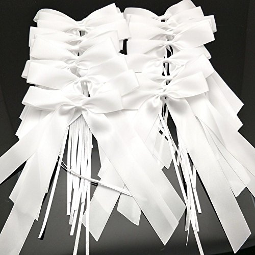 Satin Bows Pew Wedding - FQTANJU 30 pcs Delicate Wedding Pew End Bowknots Ribbon Bows Cars Chairs Decorations. (white)