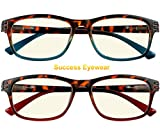 Computer Glasses 2 Pair Anti Glare Anti Reflection Spring Hinge Ombre Color Reading Glasses for Men and Women +1.5