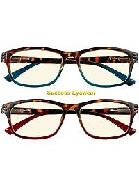 2 pares de anteojos de computadora antirreflejos con bisagra de resorte Ombre Color para hombres y mujeres
