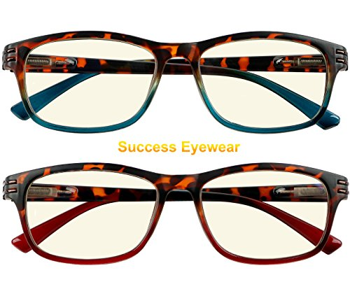 Computer Glasses 2 Pair Anti Glare Anti Reflection Spring Hinge Ombre Color Reading Glasses for Men and Women +1.5 by Success Eyewear (Image #1)
