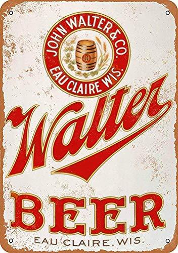 Nice Metal Decoration Sign Walter Beer - Vintage Decorative Tin Sign.Large Size 12 x 8 -