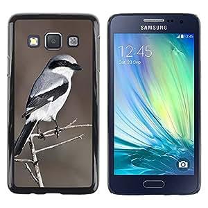 TopCaseStore / la caja del caucho duro de la cubierta de protección de la piel - Pattern Brown Bird White - Samsung Galaxy A3 SM-A300
